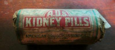 vintage patent medicine bottle A.D.S. KIDNEY PILLS sealed