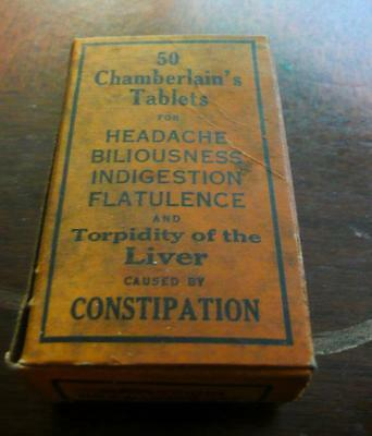 antique CHAMBERLAINS TABLETS patent medicine bottle in original box unused