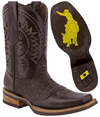 Mens Brown Work Western Cowboy Boots Square Toe Crocodile Belly Pattern Leather