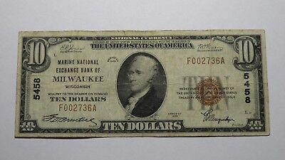 $10 1929 Milwaukee Wisconsin WI National Currency Bank Note Bill Ch. #5458 Fine!
