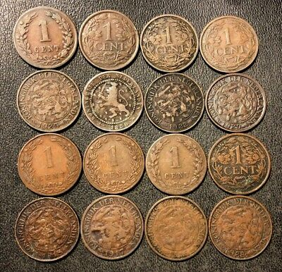 Old Netherlands Coin Lot - 1878-1940 - 16 One Cent Coins - Lot #116