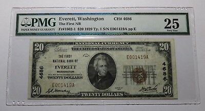 $20 1929 Everett Washington WA National Currency Bank Note Bill! #4686 VF! PMG!