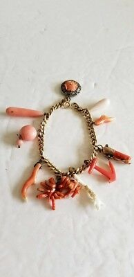 Antique Chinese Coral Charm Bracelet 10 Charms