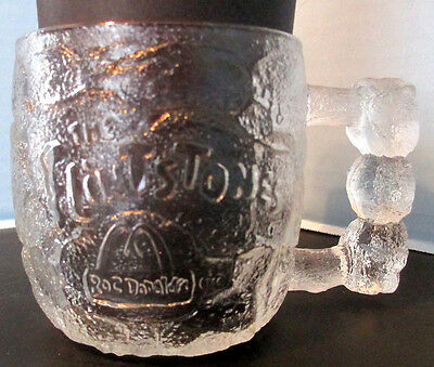 McDonalds Flintstones Glass Mug Rocky Road Cup 1993 Clear Frosted Cup