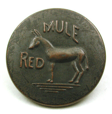 """BB Antique Brass Overall Work Clothes Button """"Red Mule"""" W/ Mule Image - 3/4"""""""