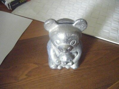 Vintage Small Metal BEAR Collectible Bank  complete with stopper at bottom