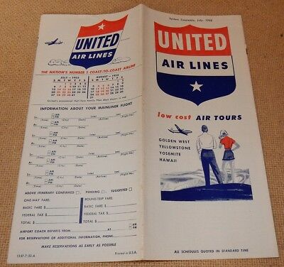 July 1952 UNITED Air Lines TIMETABLE