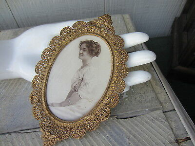 "Antique ORNATE Filigree GOLD Metal OVAL Picture FRAME 6"" Victorian Bride Photo"