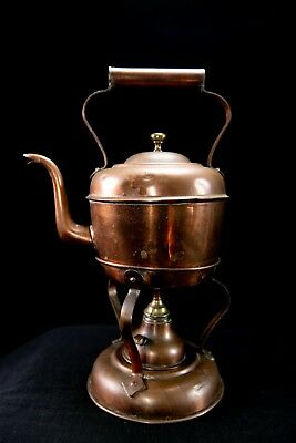 antique/vintage small copper kettle with stand and burner used three piece
