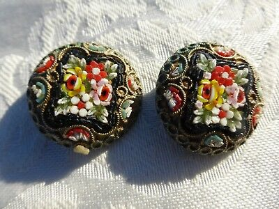 Really BEAUTIFUL Tiny VINTAGE MICRO MOSAIC Clip on EARRINGS from Italy Detailed