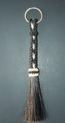 Western Equestrian Jewelry Woven Black/White Horsehair Key Ring With Tassel