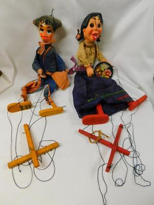 Pair of Vintage Mexican MARIONETTES String Puppets Mexico Folk Art Hand Painted