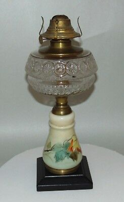 ANTIQUE Hand Painted P&A MFG Oil Lamp WATERBURY CT Autumn Leaves