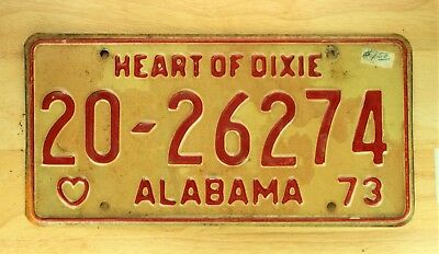 1973 Vintage Alabama Heart Of Dixie License Plate Auto Car Vehicle Tag Item 1190