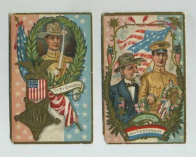 2 Early Decoration Memorial Day Gold Embossed Postcard Greetings Patriotic wz255