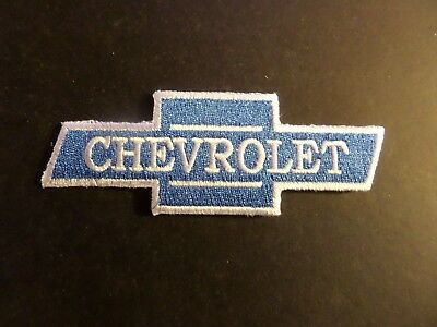CHEVROLET blUE & SILVER Embroidered 1-1/2 x 4  Iron On Patch