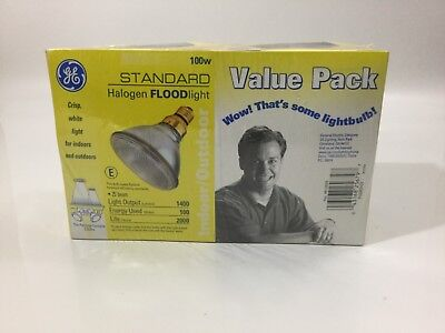 Sealed GE Standard Halogen Floodlight Lightbulb, 100W, Value Pack in Two