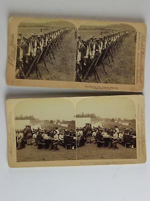 LOT: EIGHT 1898-1900 STEREOVIEW CARDS of MILITARY TROOPS~ROUGH RIDERS~