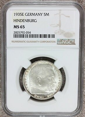 1935-E Germany 5 Five Reichsmark Hindenburg Silver Coin - NGC MS 65 - KM# 86