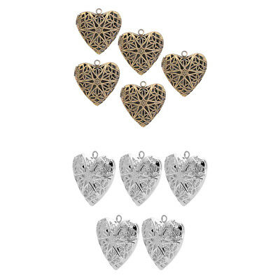 10 Pieces Vintage Heart Shape Metal Pendant Necklace Craft Bracelet Beads