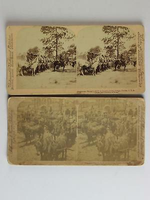 LOT: EIGHT 1897-1898 STEREOVIEW CARDS of MILITARY TROOPS~CAVALRY~HORSES~