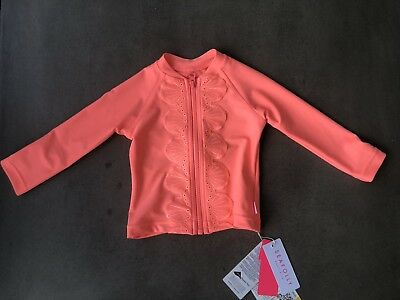 BNWT Seafolly Girls Sweet Summer Zip Front Rashie Size 0 RRP$59.95