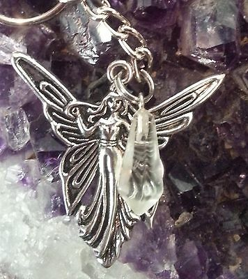 Wow - New Adorable Key Chain Or Pendant With Clear Quartz Gemstone & Fairy