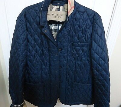 Mens Burberry Brit Diamond Quilted Jacket Size Medium Blue