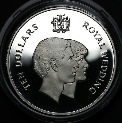 1981 Jamaica $10 Silver Proof Royal Wedding Prince Charles & Lady Diana KM# 92