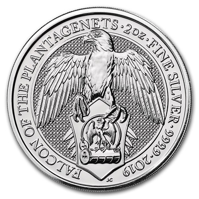 2019 Queen's Beast 2 oz Silver Falcon Of The Plantagenets BU Coin (b414c)