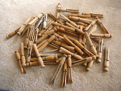 LOT of SIXTY VINTAGE PRIMITIVE WOOD PUSH CLOTHES PINS LAUNDRY PEGS - WIRE WRAP