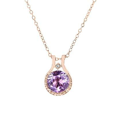 14K Rose Gold over Sterling Silver Diamond and Amethyst Halo Pendant...