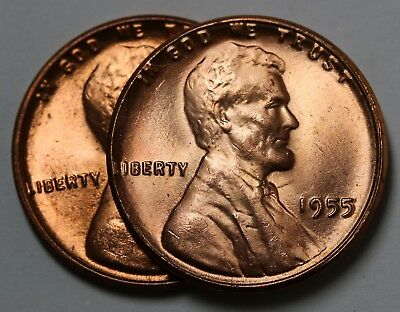 1955 US Poor Man's Double Die Lincoln Wheat Cent Penny  UNC / BU 2 Coins