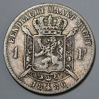 1886 Belgium Silver Franc  Léopold II Coin Dutch Text KM# 29