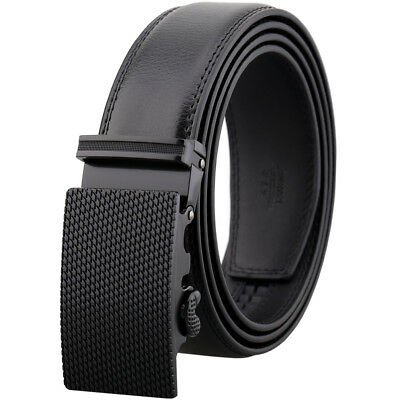 Genuine Leather Belt Mens Ratchet Dress Belts With Adjustable Automatic Buckle