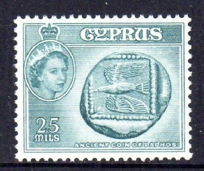 1955-60 CYPRUS 25m coin of Paphos SG179 mint unhinged