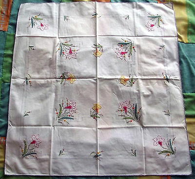 "Vintage shabby chic, appliqued, embroidered tablecloth approx 31"" X 32"""