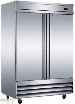 """FREEZER TWO SOLID DOORS RESTAURANT 54"""" W 46.5 Cu. Ft. Stainless Auto-Defrost New"""