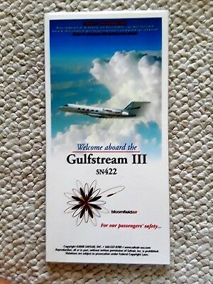 Gulfstream lll SN422 Laminated Passenger Safety Card Excellent Condition