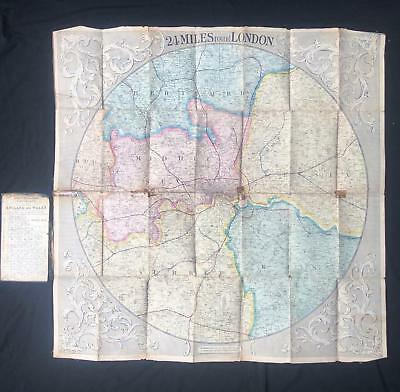 Rare Cruchley's 24 Miles Around London Excursion Map Published 1850