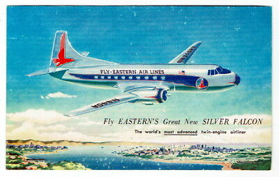 EASTERN AIR LINES Silver Falcon Plane ~ c1950's Postcard ~ FREE SHIPPING