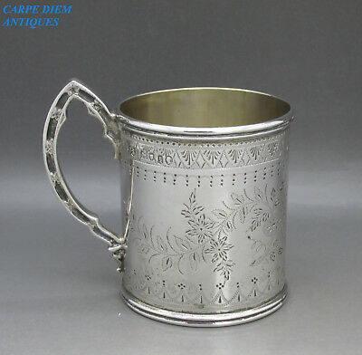 ANTIQUE VICTORIAN SUPERB SOLID STERLING SILVER CHRISTENING MUG, TS 131g LON 1866