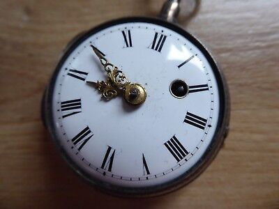 Antique Silver Fusee Verge  Pocket Watch Working With Key