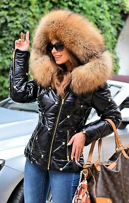 New 2019 Black Down Jacket Fox Fur Hood Class Sable Chinchilla Mink Bomber Parka