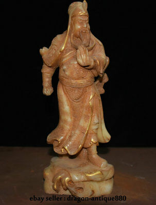 """11.6"""" Old Chinese Natural White Jade Hand Carved Guan Gong Yu Warrior God Statue"""