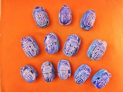 12 Large Ceramic Stone Ancient Egyptian Lucky Scarab beetle, Amulets & Plaques