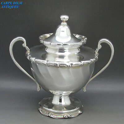 VINTAGE STUNNING HEAVY SOLID STERLING SILVER LIDDED SUGAR BOWL 564g MEXICO c1950