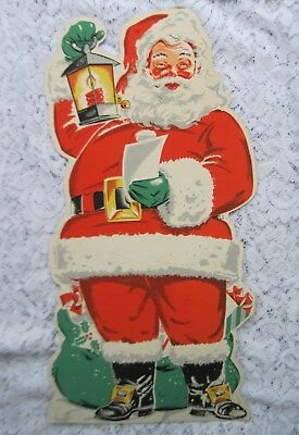 "Vintage 1950's Stand-up Santa Decoration~Sturdy Cardboard w/Easel~21""~Super Nice"