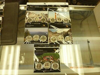 5 2013 AMERICA THE BEAUTIFUL US 3 COIN SETS Mc HENRY, RUSHMORE, BASIN ECT.