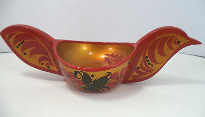 SOVIET ERA Wooden BIRD-SHAPED BOWL or CUP Painted Khokhloma w/ Label USSR Russia